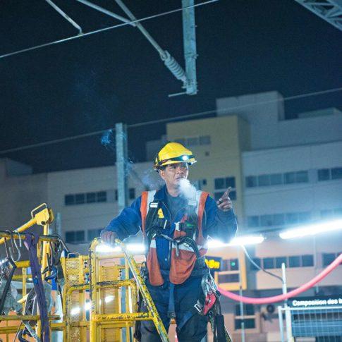 photographe reportage chantier de nuit sncf gare de lorient morbihan